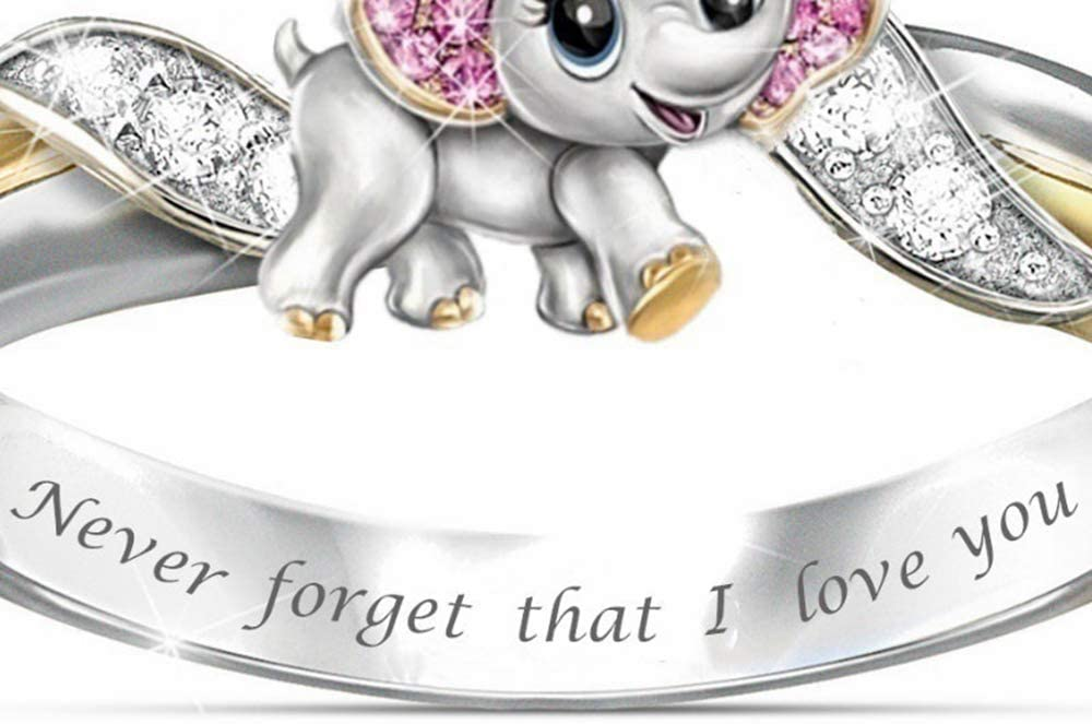 Lemon-Land Cute Anniversary Jewelry Lovers Gifts 925 Silver Diamond Animal Ring Pink Elephant /¡/°Never Forget I Love You/¡/± 6