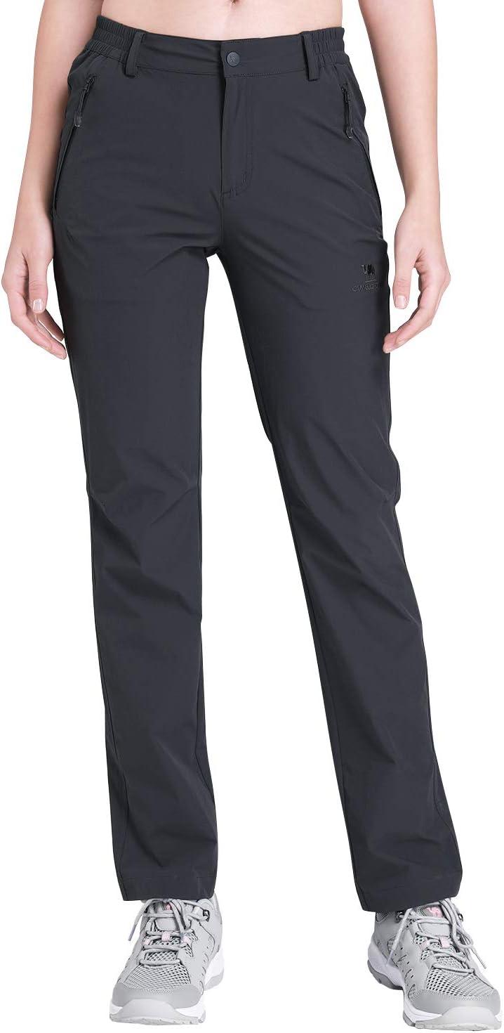CAMEL CROWN Pantalones de Senderismo para Mujeres Ligeros Pantalones de Cargo de Secado Rápido con Bolsillos para Caminar Montaña Trekking Acampada al Aire Libre