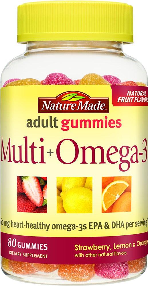 Nature Made Multi + Omega-3 Adult Gummies ( 60 mg of DHA & EPA per serving) 80 Ct,(Strawberry, Lemon, and Orange)