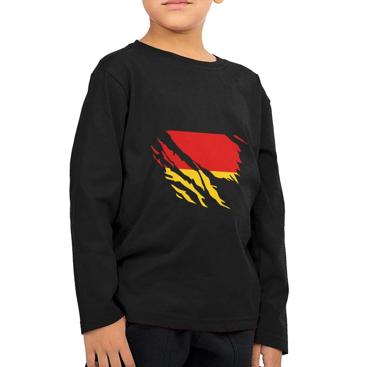 Ripped German Flag Novelty Toddler Kid Baby Boys Girls Long Sleeve Shirt Tops