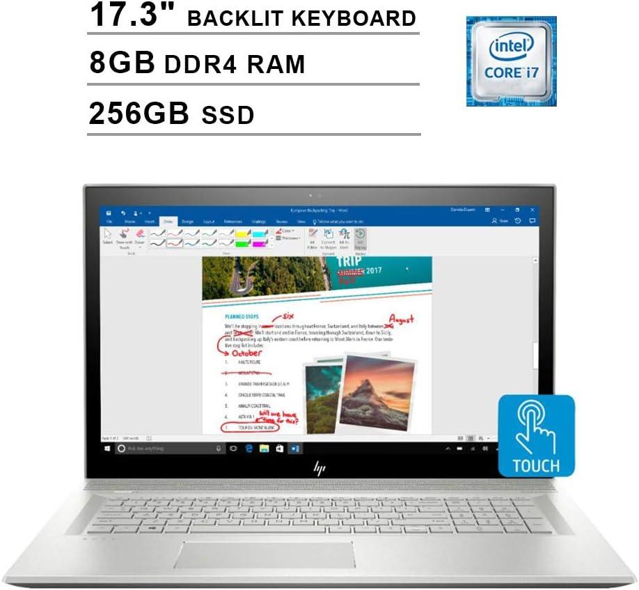 HP Envy 17.3 Inch FHD Touchscreen Laptop (Intel 4-Core i7-8550U up to 4GHz, 8GB RAM, 256GB SSD, NVIDIA MX150 2GB, Backlit Keyboard, DVD, WiFi, Bluetooth, HDMI, Windows 10) (Renewed)