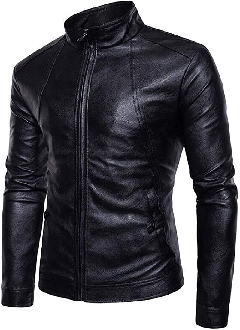 Miracle Men Premium Long Sleeve Stand Collar Zip Up Faux Leather Jacket