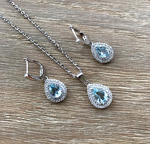 Bridal Jewelry Sets- Blue Quartz Earring Necklace- Double Halo Matching Pear Shape Jewelry Set- Wedding Jewelry Set for Her- Classic Set by Belesas