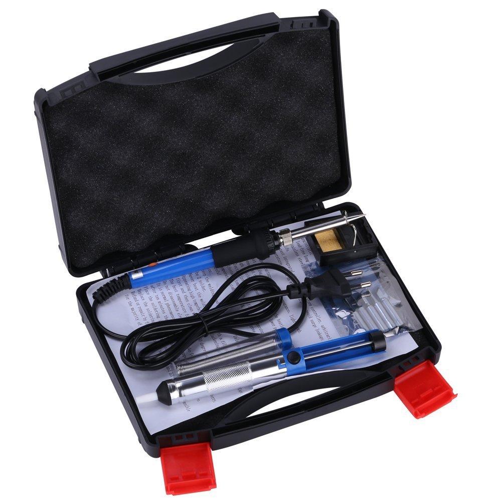 GHB Kit de soldador electrónico 6 en 1 con 5 pcs puntas diferentes/esponja de limpiar/estaño/60 W Temperatura ajustable: Amazon.es: Bricolaje y herramientas