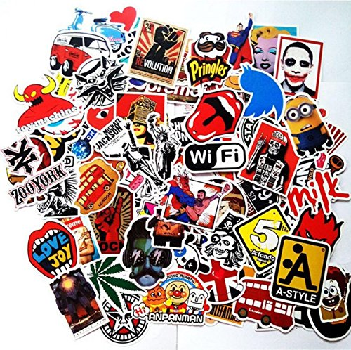 Price comparison product image pack of 100pcs Stickers Decals for Laptop,Kids,Cars,Motorcycle,Bicycle,Skateboard Luggage Vinyl Sticker Hippie Decals,Waterproof sticker-Random sticker