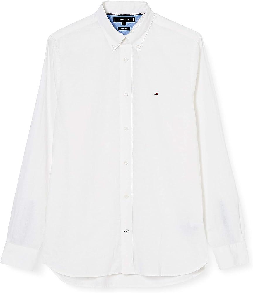 Tommy Hilfiger Cotton Linen Shirt Camisa, Blanco (White YBR), Small para Hombre: Amazon.es: Ropa y accesorios