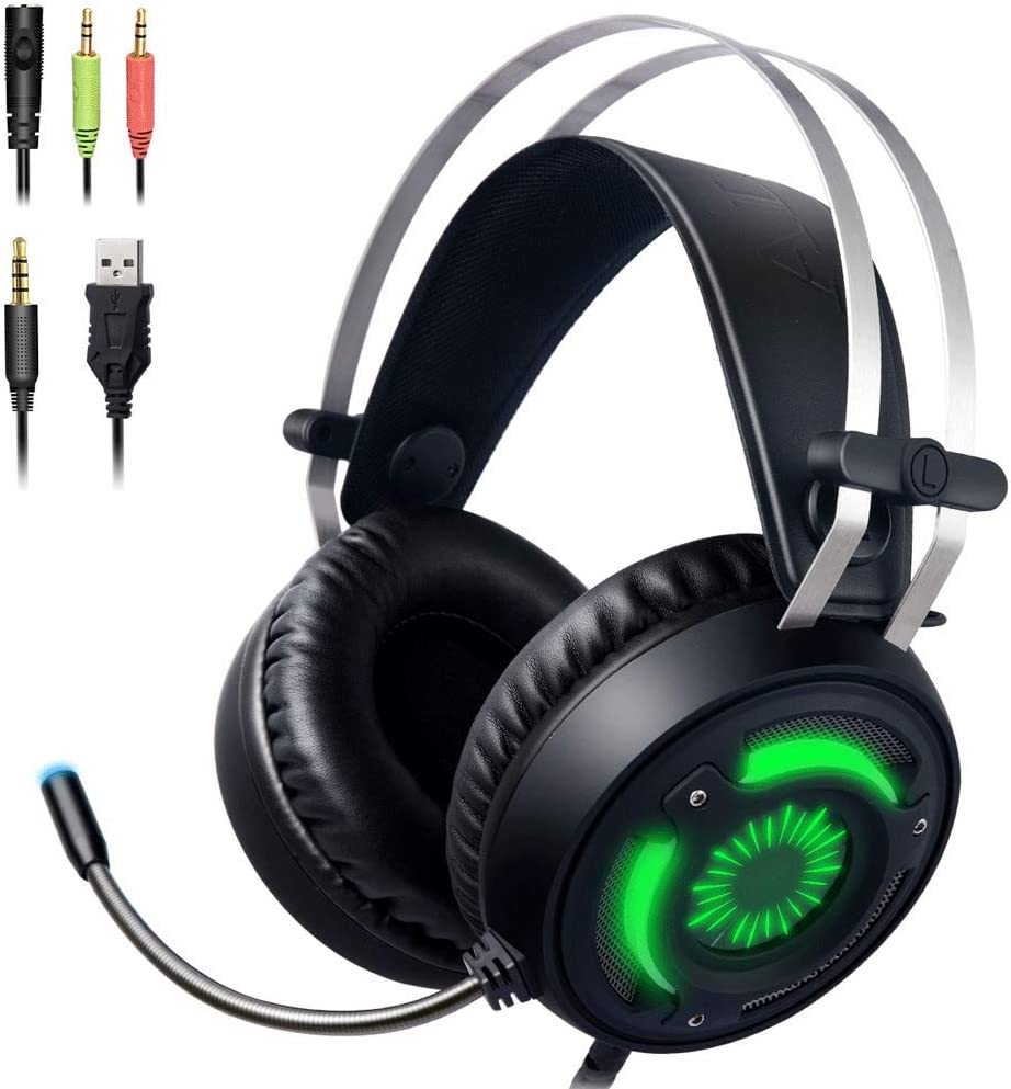 3.5mm Gaming Headset for PS4 Xbox One with Noise Cancelling Mic 7-Color Breathing LED Light,Gaming Headphones Compatible with Nintendo Switch,Mac,Laptop, Ipad,Xbox One Controller