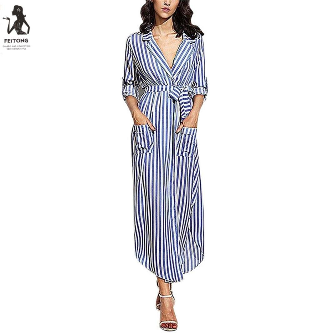 66e7f59b0aa Howstar Women s Vertical Striped Deep V Neck Long Sleeve Maxi Shirt Dress  with Pocket at Amazon Women s Clothing store