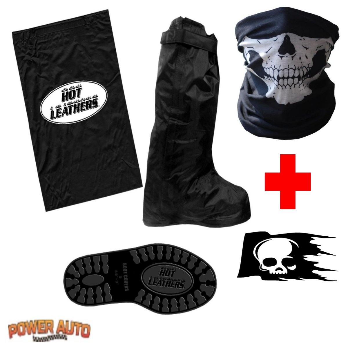 Motorcycle Boot Covers - Outdoor Protective Riding Rain Suit Gear Waterproof Weatherproof - Full Shoe Slip Over - Rainstorm Rainy Days Plus Skull Decal & Skeleton Riding Face Mask (2X) Power Auto
