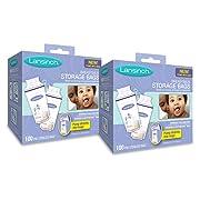 Lansinoh Breastmilk Storage Bags, 2 Packs of 100 Count (200 Count) Convenient Milk Storage Bags for Breastfeeding