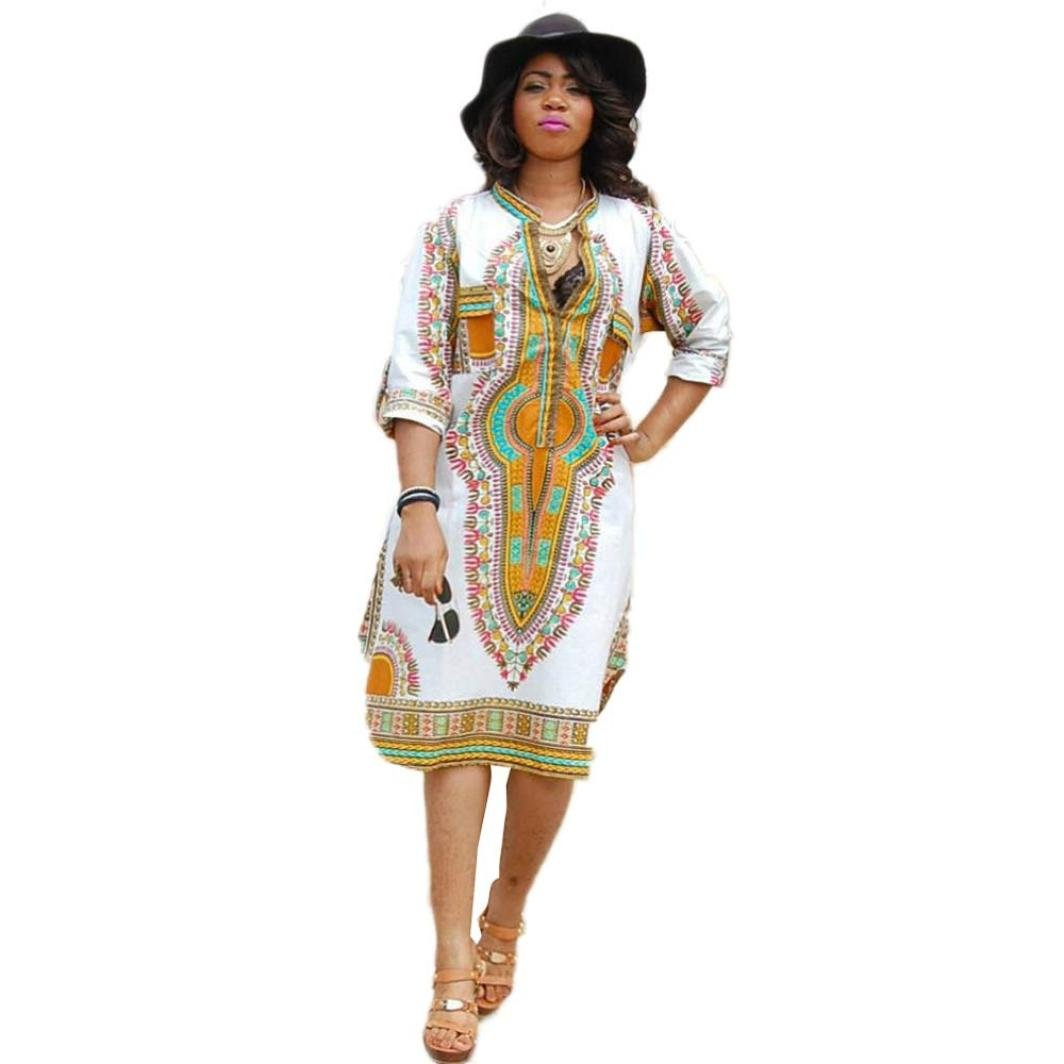 Sumen Women Summer 3/4 sleeve Stretch Deep V Traditional African Print Party Dresses