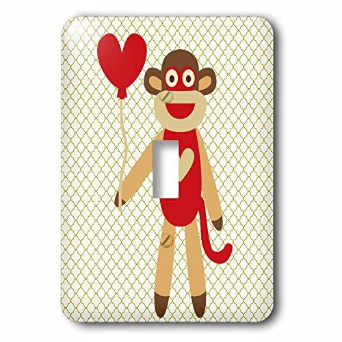 3dRose LSP_63510_1'Sock Monkey con corazón globo adorable animal arte único interruptor