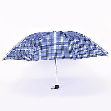 SBBCW Grande Barómetro Plegado Enrejado Tres Sombrilla Plegable Paraguas De Sol