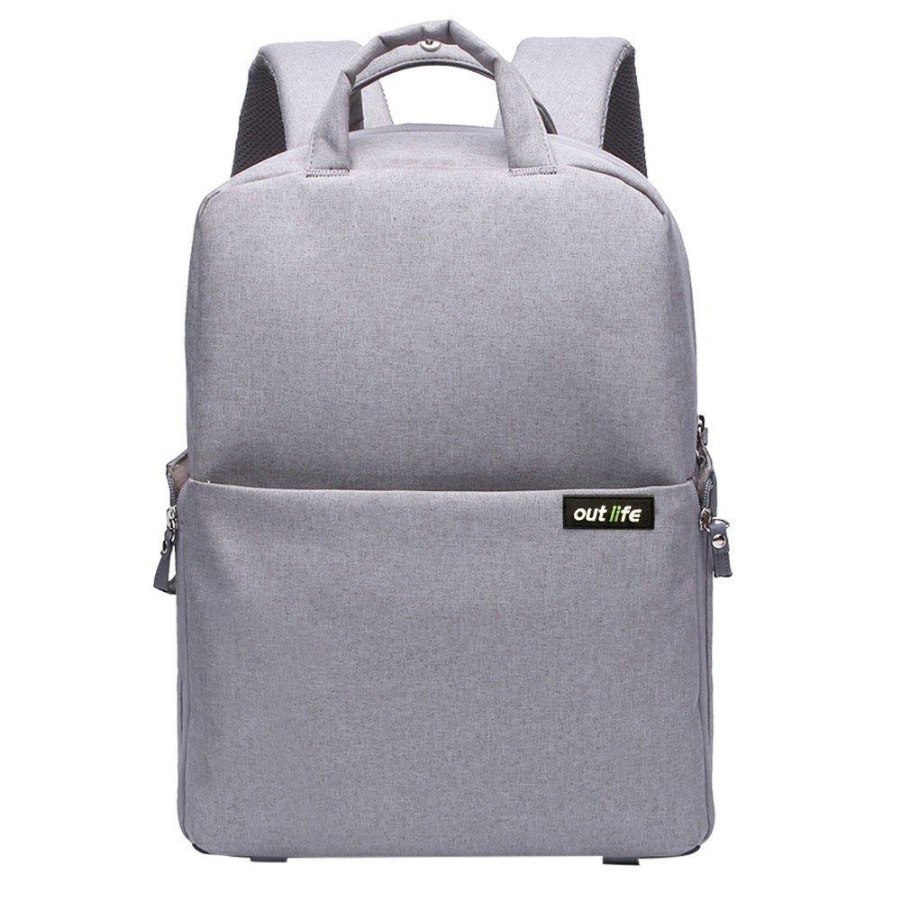 Camera Bag, Outlife Dslr Backpack Camera Backpack Laptop Shoulder Bag Nylon Waterproof Cover Shockproof Daypack Gray for Canon Nikon Olympus Pentax