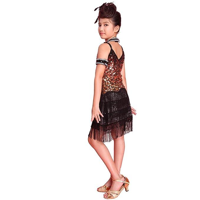 91e27de05e4e Hougood Latin Dresses for Girls Sequined Tassels Latin Dance Dress Salsa  Samba Rumba Tango Dance Costumes Carnival Party Prom Sling Dress:  Amazon.co.uk: ...