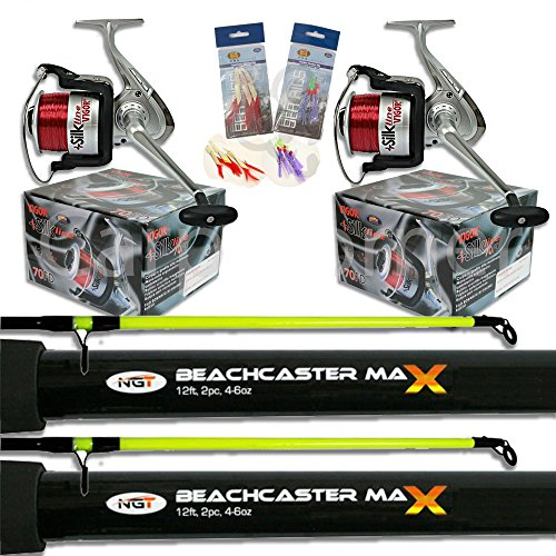 2 x 2pc12ft 4-6oz Beachcaster Rods Sea Fishing Reels Loaded Line Combo...