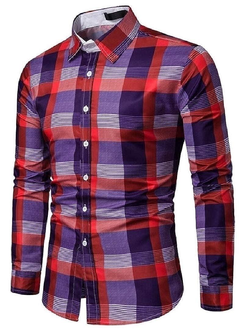 CYJ-shiba Mens Plaid Long Sleeve Slim Fit Leisure Printing Button Down Shirts