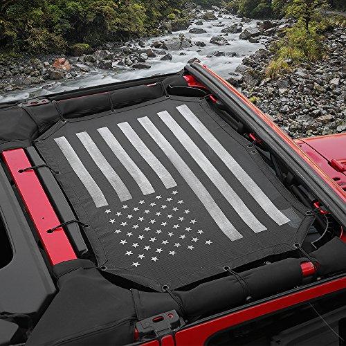 Voodonala US Flag Durable Mesh Sunshade Top Cover Provides UV Sun Protection 2007-2017 Jeep Wrangler JK JKU-2 Door