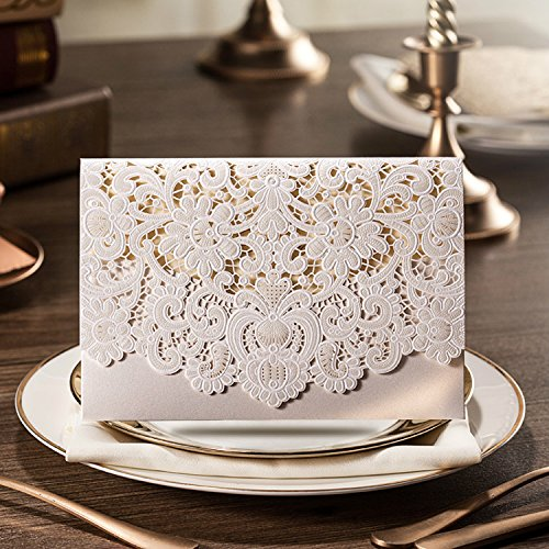 Doris Home 100pcs Ivory Horizontal Laser Cut Wedding Invitation with Hollow Flora Favors (pack of 100pcs)