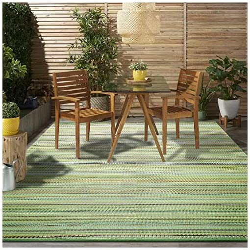 Garden and Outdoor Santex TT006 Outdoor/Indoor Plastic Rugs,Easy to Clean,Perfect for Garden, Patio, Picnic, Decking(Green,8x10Ft) outdoor rugs