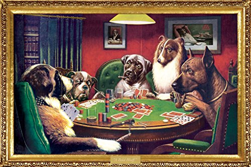 Buyartforless C.M. Cooldige (A Bold Bluff) Dogs Playing Poker 36x24 Art Print Poster Funny Iconic Image ()