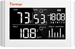 Temtop P20 Digital Thermometer and Hygrometer PM2.5 Air Quality Monitor Tabletop Temperature Monitor Humidity Gauge Meter with Comfort Level Icon and Rechargeable Battery –White