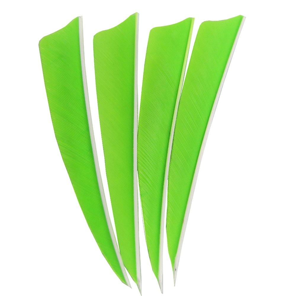 MILAEM 50pcs Archery Arrow Feathers 4 inch Shield Shape Turkey Feather Fletching