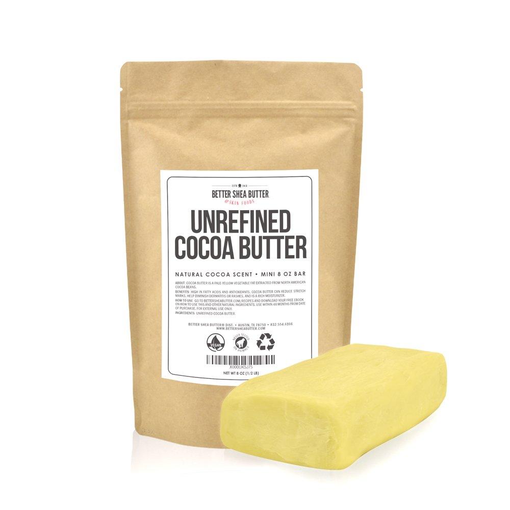 Unrefined Cocoa Butter - Raw, 100% Pure with Natural Cocoa Scent - Use in DIY Lotion, Lotion Bars and Sticks, Lip Balm, Body Butter and a Lot More Skin Care Creations - 8 oz