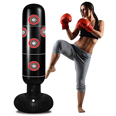 Taekwondo,De-Stress Boxing Bag for Boy//Girl. Inflatable Punching Bag for Adult,Free Standing Boxing Bag for Immediate Bounce Back Heavy Punching Bag for Practicing Karate Adult 170CM, Red