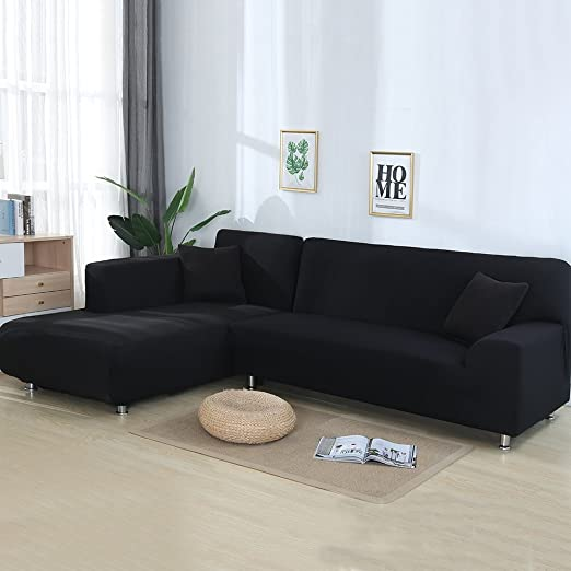 Stretch Fabric Sofa Slipcover Sectional Couch Cover for L Shape+2pcs Pillowcover