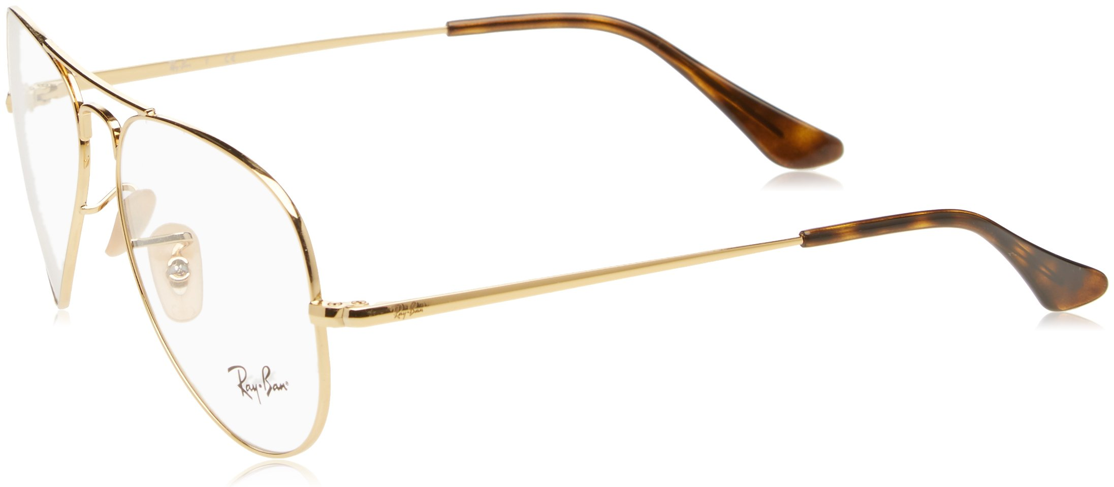 Ray-Ban RX6489 Aviator Metal Eyeglass Frames, Gold/Demo Lens, 58 mm by Ray-Ban