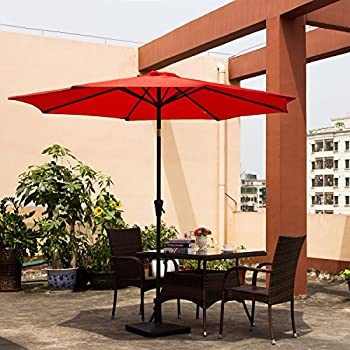 Ollieroo Patio Umbrella Tilt Red Aluminum 9FT Outdoor Market Umbrella With Crank 8 Steel Ribs and Wind Vent 100% Polyester