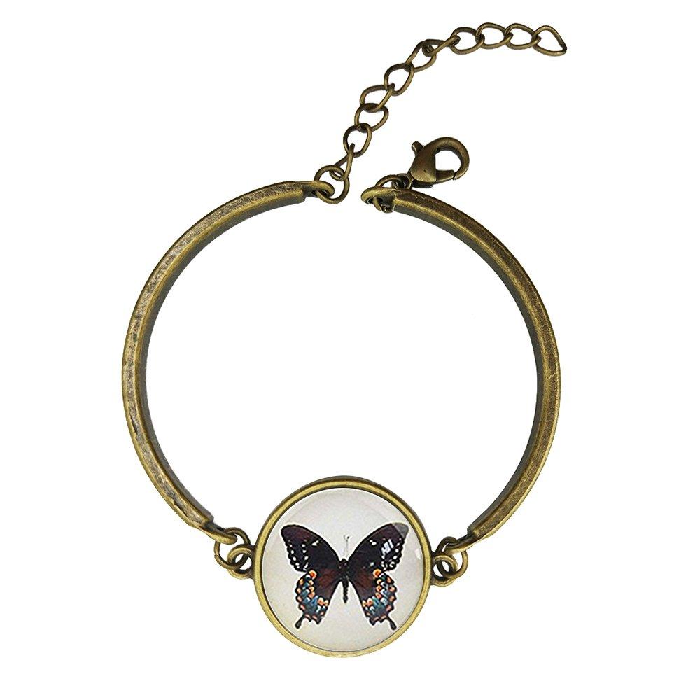Adjustable Vintage Bronze Bracelets The Love Eterne Butterfly Lovers Copper Bangle Custom Glass Cabochon Charm Brace Lace
