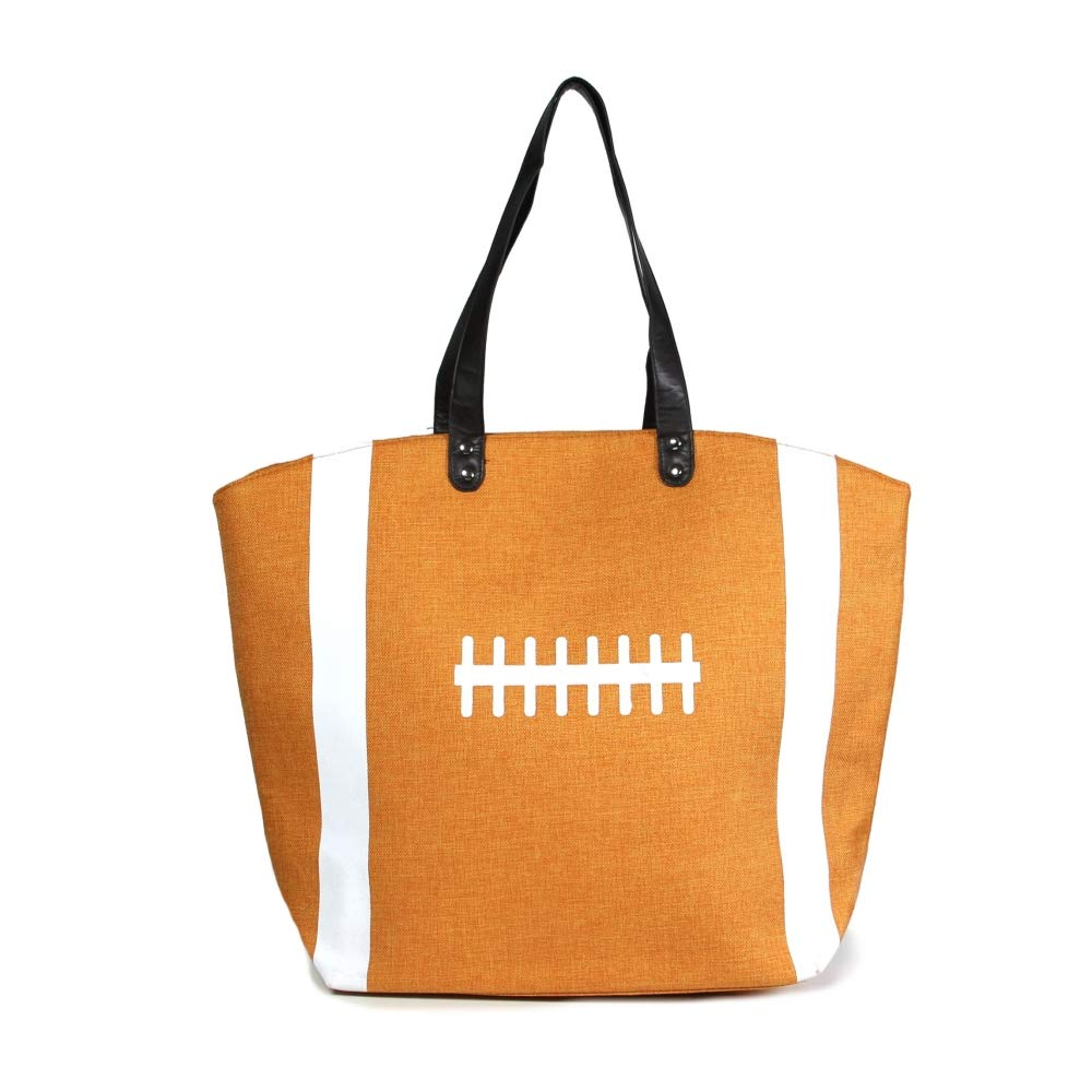 Me Plus Sports Baseball-Softball-Football Design Tote Hand Bags/Fashion Shoulder Bags/X-Large 21 IN. (Football - Orange)