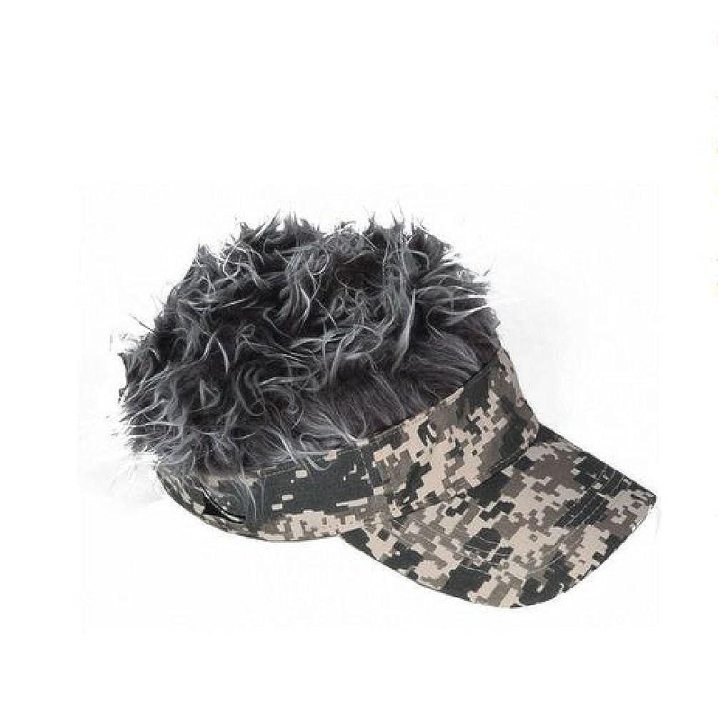 Spiked Hair Digital Camo Visor Cap Joke Novelty Gag Gift Fake Grey Fur Golf  Hat at Amazon Women s Clothing store  43056d750aa