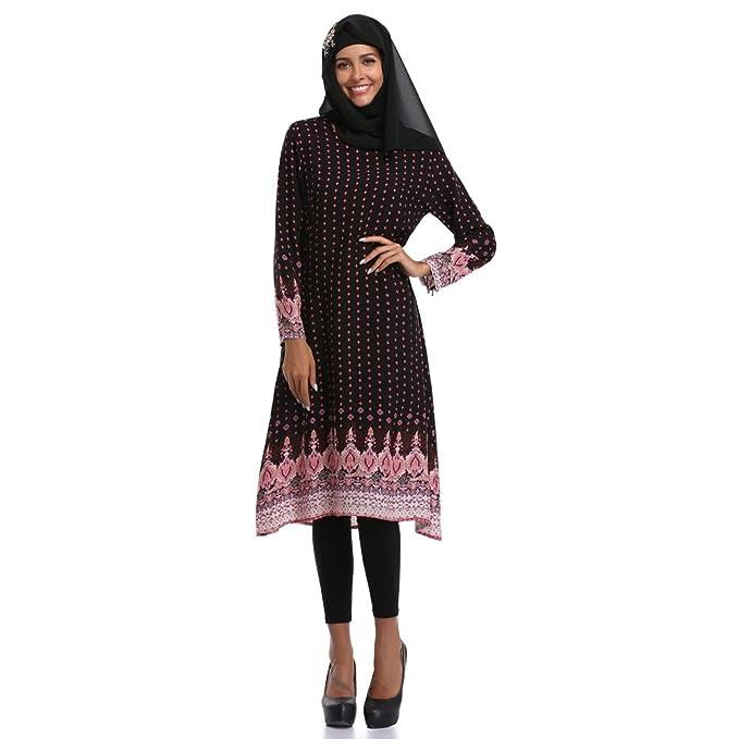 Muslimische Kleidung Elegant Langarm Kleid Tunika Islamische Damen O ...