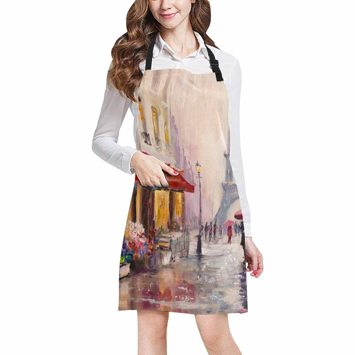 InterestPrint Modern Art A Pair Of Lovers in France Paris Eiffel Tower Chef Kitchen Apron, Adjustable Strap & Waist Ties, Front Pockets, Perfect for Cooking, Baking, Barbequing, Large Size