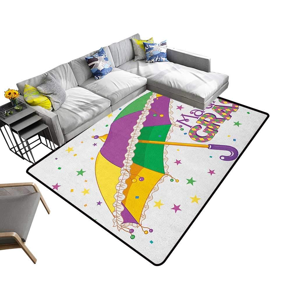 Mardi Gras Non-Slip Floor mat Parade Preparations Umbrella Stars Confetti Figures Joyful Fun Party 78''x118'',Can be Used for Floor Decoration