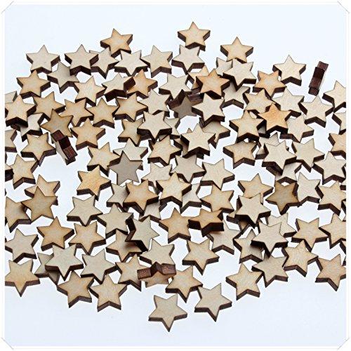 (yuhoshop 100 pcs 1CM diameter [Star Shaped] Mini Small Wooden Piece Embellishments - Scrapbooking Shapes for Craft Decor Button)
