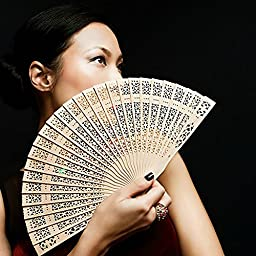 Smartlife15 5Pack Chinese Folding Sandalwood Carved Hand Fan for Wedding Bridal Party