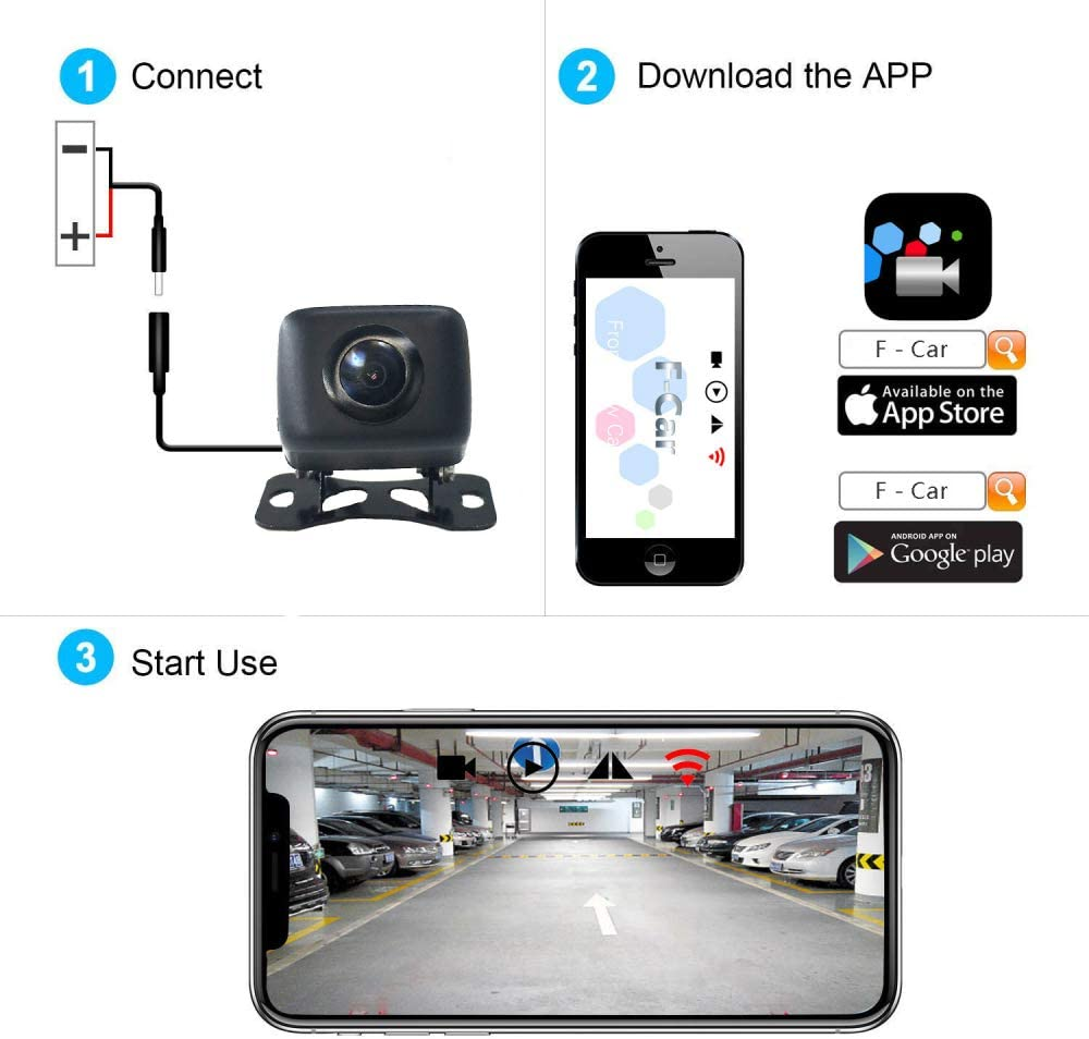 IP67 a Prueba de Agua para iPhone//iPad//Andriod WANGOFUN C/ámara de Reserva inal/ámbrica HD C/ámara de Reserva para veh/ículos del veh/ículo C/ámara de Copia de Seguridad de WiFi con visi/ón Nocturna