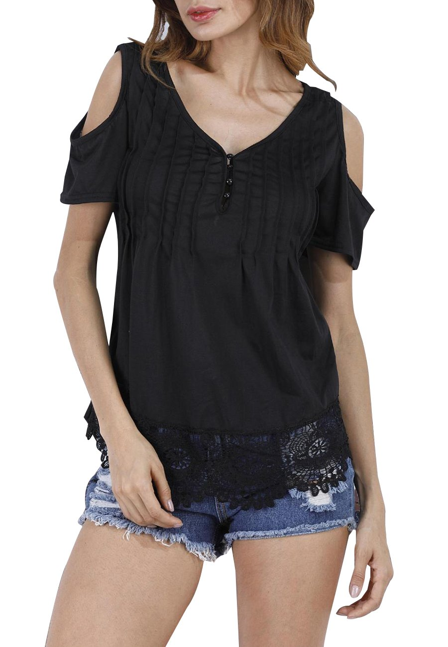 OMZIN Ladies Lightweight Fit and Flare Apparel Plain Tunic Top Black 2XL