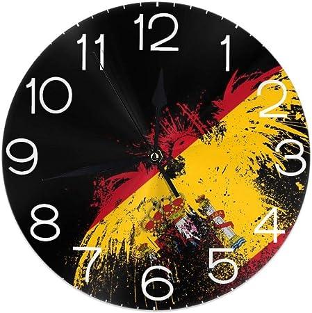 Night Ing Reloj de Pared Redondo Estante Reloj Novedad España Bandera Águila Impreso para Sala de Estar/Comedor/Dormitorio Decorativo: Amazon.es: Hogar