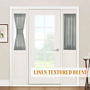 """Sidelight Curtains for French Door - Linen Texture Pattern Semi-Transparent Sheer Curtains Door Covering for Back Door Window Kitchen Dining, 2 Free Ropes, One Pair, W 30"""" x L 40"""", Grey"""