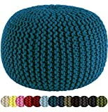 Cheap Cotton Craft – Hand Knitted Cable Style Dori Pouf – Teal – Floor Ottoman – 100% Cotton Braid Cord – Handmade & Hand stitched – Truly one of a kind seating – 20 Dia x 14 High