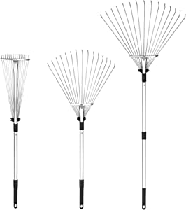 Buyplus Adjustable Garden Leaf Rake - 24 to 63 Inch Telescopic Metal Rake, Expandable Folding Leaves Rake for Lawn Yard, Flowers Beds and Roof
