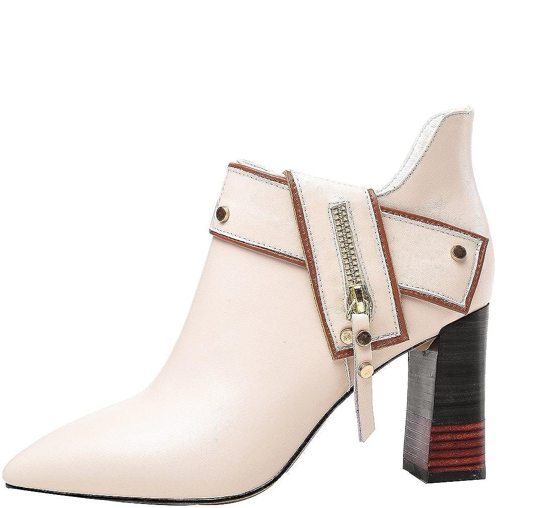 Calaier Damen Qaxcb 8CM Blockabsatz Reißverschluss Pumps Schuhe