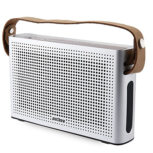 PINSHOW Goldentime Cowhide Strap Portable Bluetooth 4.0 Wireless Speaker Support Power Bank Function (Silver) by PINSHOW
