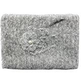 Freebily Newborn Baby Mohair Crochet Knit Wrap Cloth Blanket with Headdress Flower Photography Prop Gray One Size