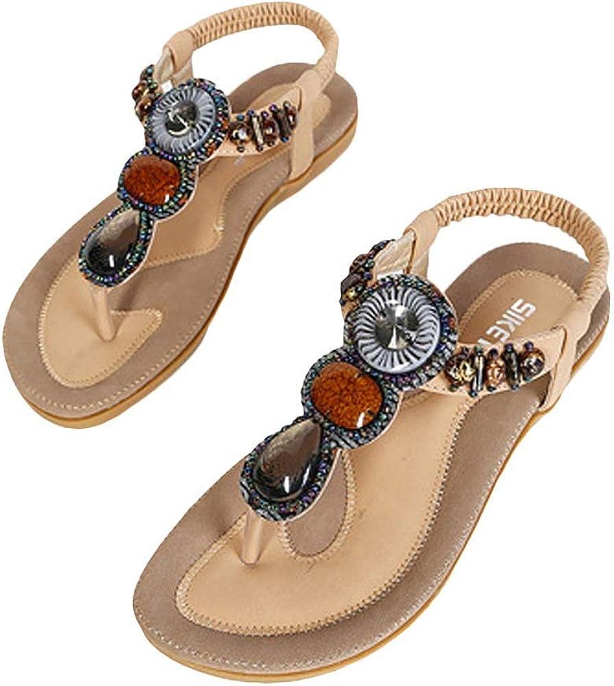 Aimik Women Sandals,2020 Women Fashion Sandals Summer Bohemia Flower Beads Flip-Flop Shoes Flat Sandals